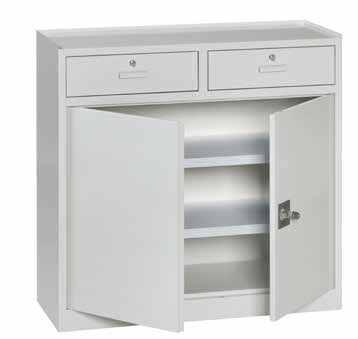 armadio metallico basso con ante e cassettiere